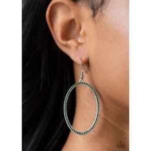 Dazzle On Demand Green Rhinestone Hoop Earrings